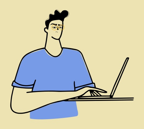 A person in front of their laptop, looking stressed, fed up, annoyed. Using Talkit helps you deal with these feelings to keep your burnout risk in check.